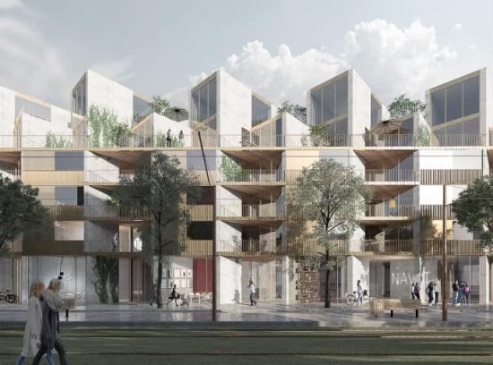 Visionsbilden visar Navet, Kärnhems och Arkitema Architects vinnande förslag för kvarteret mellan Nobelparken och Brunnshögs torg i centrala Brunnshög.
