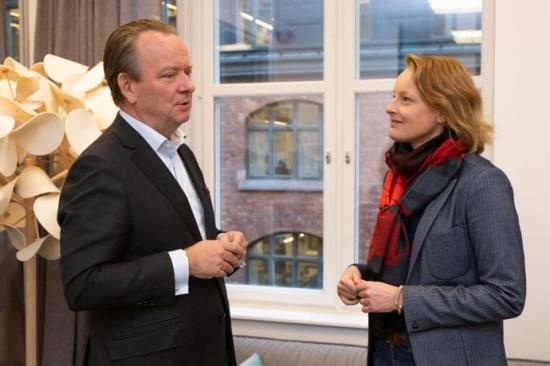 Mikael Lundström, VD på Svefa, och Alexandra Hagen, VD på White Arkitekter.