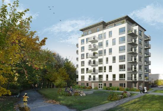 Illustration över den nya flerfamiljsfastigheten i kvarteret Grundström i centrala Ystad, som ska ge plats för 36 hyresrätter.