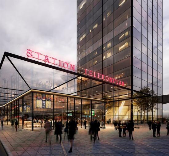 Visionsbild över hur den ny entrén till Telefonplans stations samt den nedre delen av Tellus Tower skulle se ut enligt de gamla ritningarna. Det återstår att se hur de nya visionsbilerna kommer att se ut (bilden är en illustration).