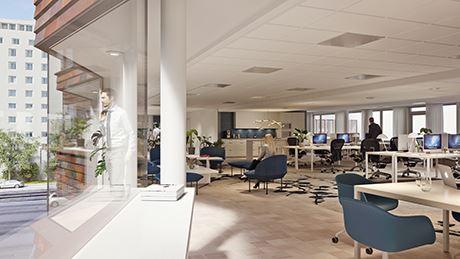 Interiör idéskiss för Wallenstams nybyggnation Sturefors vid Avenyn 34.