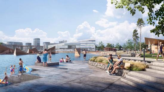 Den nya strandparken och badanläggningen ska bli Bergens nya signum (bilden är en illustration).