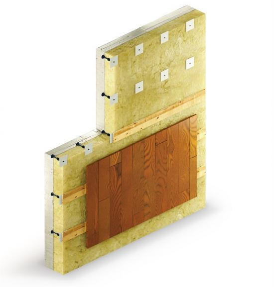 Kombination för ventilerad fasad där hylsan fungerar som fixeringspunkt för ventilerade träbaserade fasader.