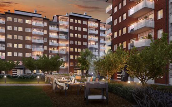 Samtliga lägenheter ligger mot en grön innergård (bilden är en illustration).
