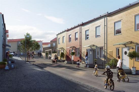 Visionsbild över radhusen i Brf Grindvakten(bilden är en illustration).