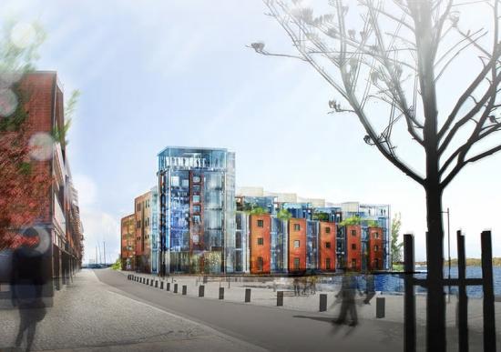 Skiss över byggnaden på östra piren i Karlshamn. Byggnaden kommer att erbjuda 10 000 kvadratmeter yta och rymma både arbetsplatser, biografsalong, konserthall och restaurang. ArkitektärAnders Törnqvist.