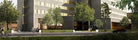 Visionsbild över den Hälsostaden Ängelholms nya vårdbyggnad på sjukhusområdet (bilden är en illustration).