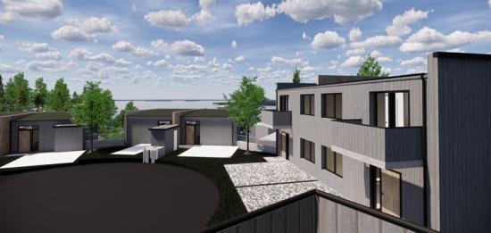 Visionsskiss över par- och radhusen i projektet Segelvyn som ska byggaspåTelegrafberget iNacka (bilden är en illustration).