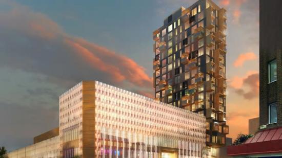 Visionsbild över Mäster Palms plats med SöDER gallerian och det kommande höghuset på 20 våningar.