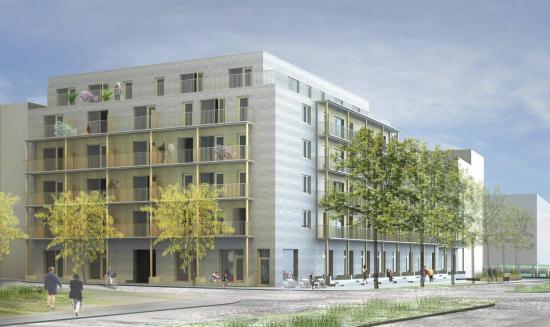 Fastigheten på Brunnshög i Lund kommer skapa 82 nya hem (bilden är en visionsillustration).