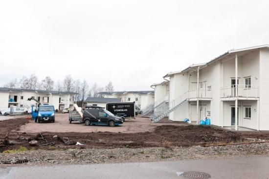 Nya lägenheter i Spåningslanda under uppförande av Lektum Fastigheter.