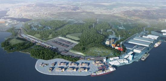 Visionsbild över Sundsvalls kommande logistikpark.