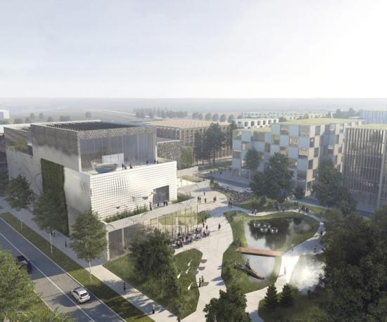 Nytt Science Center i Lund och Science Village. Exteriörvy från Pikogatan av tävlingsförslaget Vetenskap och Natur i Synergi.