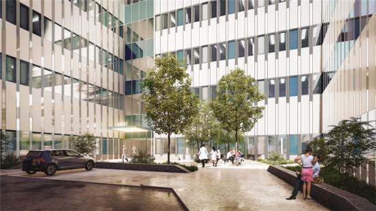 Entrén till sjukhusets nya vårdbyggnad (bilden är en illustration).