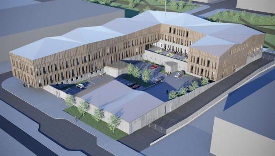 Flygvy över Kirunas nya polishus (bilden är en illustration).