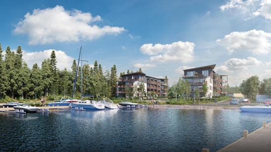 3D-bild på de planerade bostadsrätterna (bilden är en illustration).