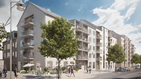 Bostäderna förmedlas av Bjurfors Nyproduktion, och första inflyttning är planerad till årsskiftet 2022/2023(bilden är en illustration).