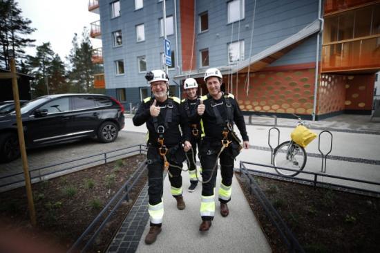 Jan Österlind, styrelseordförande i Stångåstaden, Fredrik Törnqvist, vd på Stångåstaden och Robert Bäckström, projektledare.