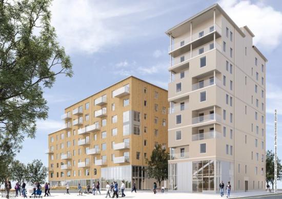 Visionsbild över nya Östra Sala backe (bilden är en illustration).