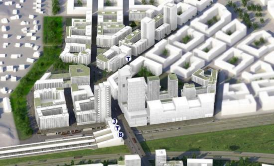 Veidekkes sju kvarter ligger i Veddesta industriområde som ska förvandlas till en upplevelserik stadsmiljö granne med en av regionens starkaste noder för kollektivtrafik med tunnelbana, buss, pendeltåg och regionaltåg i direkt anslutning till varandra.