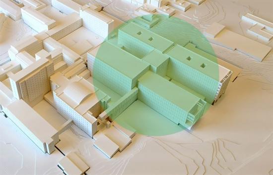 Modell av akutsjukhuset som ska byggas i Västerås.
