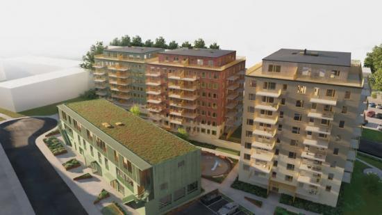 I Kvarteret Hämpling bygger Hökerum Bygg 211 nya bostäder. Det blir en mix av ettor, tvåor och treor. En del av projektet kommer troligen att byggas till ett LSS boende(bilden är en illustration).
