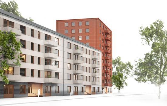 Stockholmshusen i en moderna stadsmiljö från den reviderade gestaltningsprogrammet (bilden är en skiss och resultatet kan komma att variera).