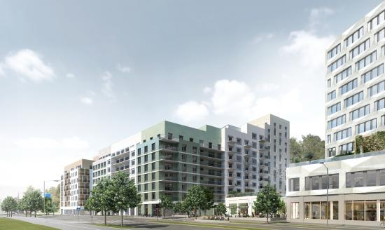 Nya bostadskvarter med upp till 600 bostäder, i anslutning till tunnelbanestationen Södra Hagalund