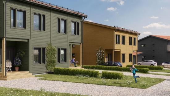 Visionsbild över det nya radhusområdet (bilden är en illustration).