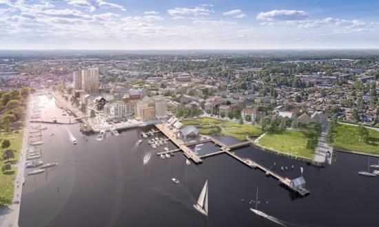 Visionsbild över Norrtälje hamn - Norrtälje stads nya framväxande stadsdel.
