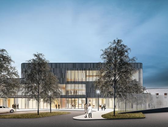 Den nya psykiatriska kliniken på Tammerfors universitetssjukhus ska bli en byggnad som stöttar patientens läkningsprocess (bilden är en illustration).