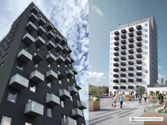 Ny signaturbyggnad i Vårberg med grafiska fasader.