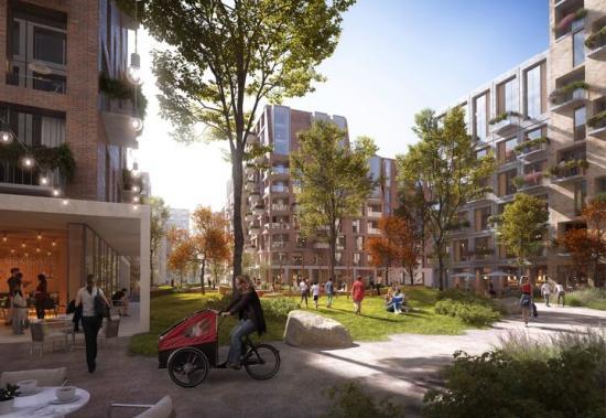 C.F. Møller Architects plan för överdäckning av Århus bangård skapar fler möjligheter för allmänheten att vistas och umgås (bilden är en illustration).