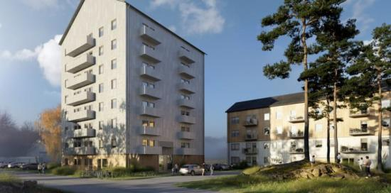 Lindbäcks koncepthus för Sveriges Allmännytta, Tetris punkthus och lamellhus (bilden är en illustration).