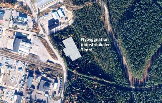 Karta Timrå med ny industribyggnad inritad.