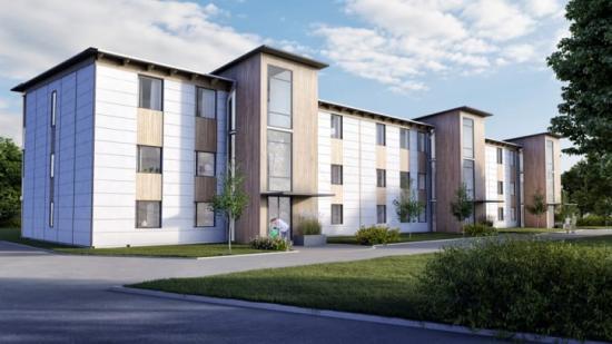 172 lägenheter på Backgårdsgatan i Vårgårda blir självförsörjande på energi tack vare solceller, vätgas och batterier. Projektet finansieras med Gröna lån från Kommuninvest.