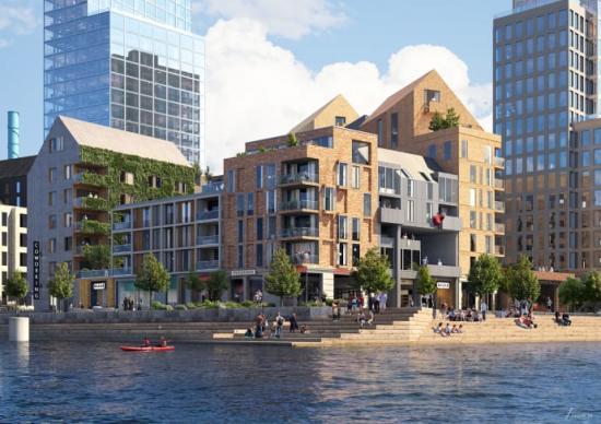 Visionsbild på Stena Fastigheters nya kvarteret längst ut på halvön på Masthuggskajen.