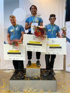 Medaljörerna i SM för unga plåtslagare 2020. Från vänster: Rasmus Eriksson, Hadi Barbari och Alexander Stüffe.