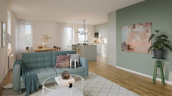 Visionsbild över en lägenhet i Gröna Lund (bilden är en illustration).