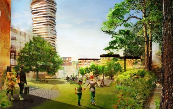 Centrala Nacka Stadspark med Discus i bakgrunden (bilden är en illustration).