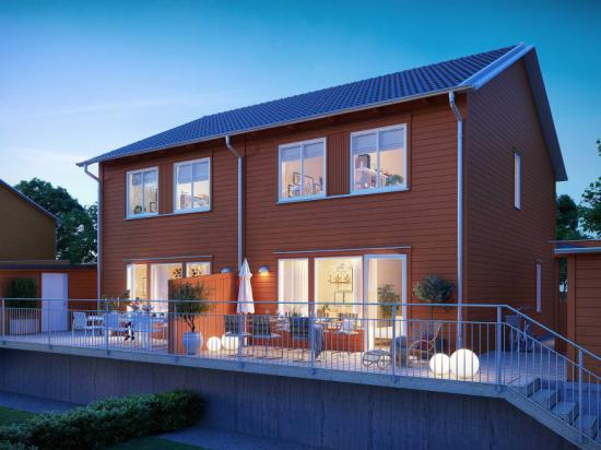 Brf Koltrasten säljstartar den 9 juni och blir 22 bostäder i parhusformat (bilden är en illustration).