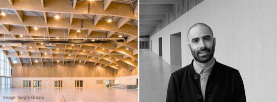 Till vänster: Sportcentret i Clamart i Frankrike, där arkitekterna har använt Kerto LVL, laminated veneer lumber, istället för limträprodukter. Till höger: Gaétan Morales från Gaëtan Le Penhuel Architects.