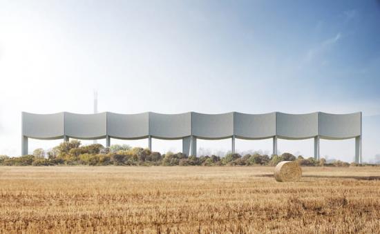 Visionsbild över vattentornet VÅGA, som kommer rymma 2000 kubikmeter vatten när den är färdigbyggd.