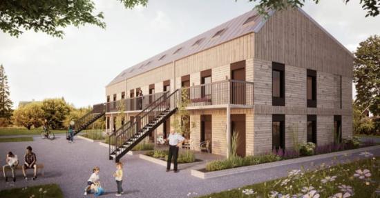 Moderna och hållbara flerfamiljshus i trä som både är prisvärda och yteffektiva.