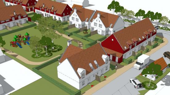 Skiss över bostadsområdet som ska byggas i Tullstorp.