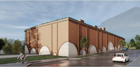 Byggnaden är en nutida tolkning av den klassiska industriarkitekturen med tegelvalv i fasaduttrycket (bilden är en illustration).