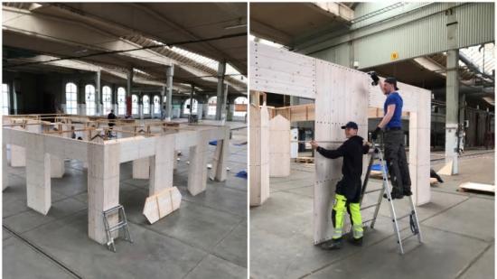Elever på Yrkesgymnasiet i Malmö fick den ärofyllda uppgiften att bygga ihop den specialdesignade träpaviljongen till Swedish Southern Design Days.
