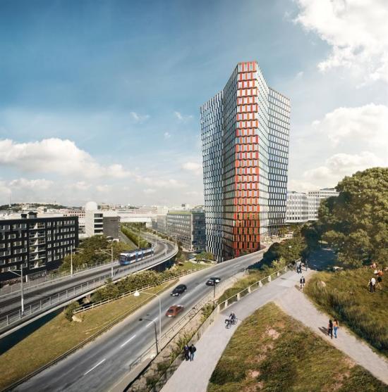 Än så länge finns där bara en grop där byggnaden ska stå, men så här kommer skyskrapan Sthlm 01 se ut när den är färdigbyggd.