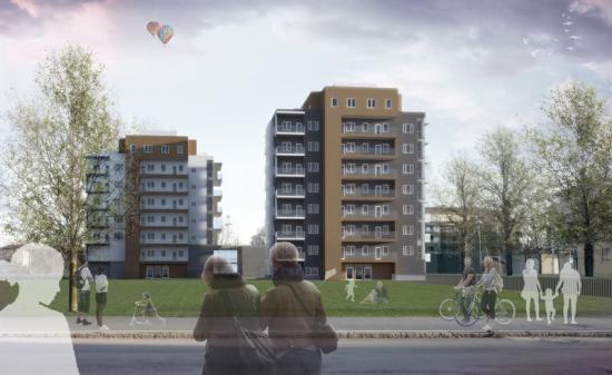 Visionsbild av Kvarteret Åkaren (bilden är en illustration).