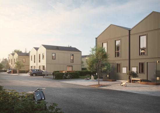 Visionsbild över nya bostadsområdet i Sollentuna (bilden är en illustration).